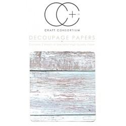 Modré dřevo - set 3 papírů pro decoupage CC