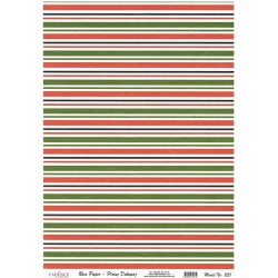 Rýžový papír A4 Pruhy ve vánočních barvách