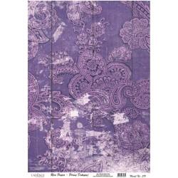 Rýžový papír A4 Vzor paisley fialový vintage