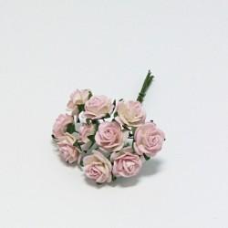 Papírová růžička 1,5cm, bílorůžová, 10ks