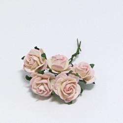 Papírová růžička 2cm, krémovorůžová, 5ks
