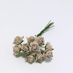 Papírová růžička 1cm, holubičí šeď, 10ks