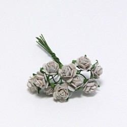 Papírová růžička 1cm, stříbrošedá, 10ks