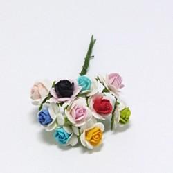 Papírová růžička 1,5cm, dvoubarevná-mix, 10ks