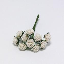 Papírová růžička 1cm, bílá, 10ks