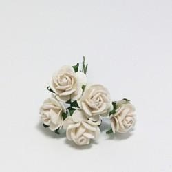 Papírová růžička 2cm, bílá, 5ks