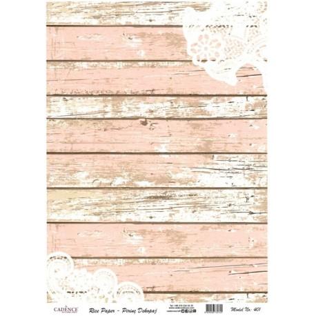 Rýžový papír A4 Růžovobílé dřevo a krajka