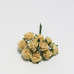 Papírová růžička 1,5cm, pastelově žlutá, 10ks