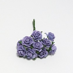 Papírová růžička 1,5cm, levandulová, 10ks