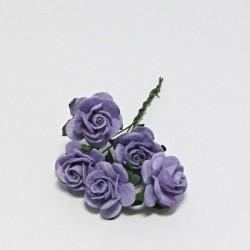 Papírová růžička 2cm, levandulová, 5ks