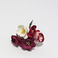 Papírový třešňový květ 2,5cm, 5ks, bíločervený mix