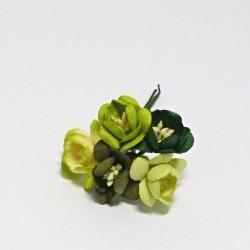 Papírový třešňový květ 2,5cm, 5ks, žlutozelený mix