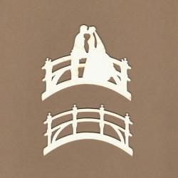 Novomanželé na mostě - 2ks chipboards