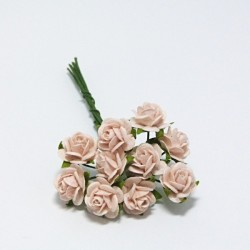 Papírová růžička 1cm, sv.broskvová, 10ks