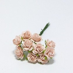 Papírová růžička 1,5cm, sv.broskvová, 10ks