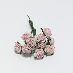 Papírová růžička 1cm, krémovorůžová, 10ks