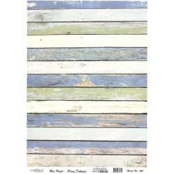 Rýžový papír A4 Dřevěná prkna modrobílé odstíny
