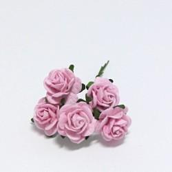 Papírová růžička 2cm, baby růžová, 5ks