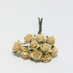 Papírová růžička 1cm, pastelově žlutá, 10ks