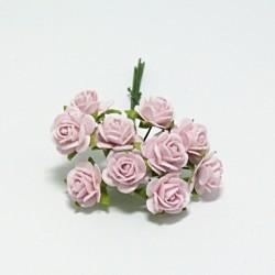 Papírová růžička 1cm, sv.růžová, 10ks