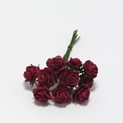 Papírová růžička 1cm, tm.červená, 10ks