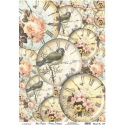 Rýžový papír A3 Hodiny, ptáčci a růže
