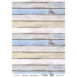 Rýžový papír A3 Dřevo v pruzích, modré odstíny