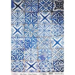 Rýžový papír A3 Retro dlažba modrá