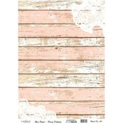 Rýžový papír A3 Růžovobílé dřevo a krajka