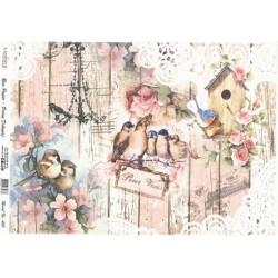 Rýžový papír A3 Růžovobílé dřevo, krajka a ptáčci