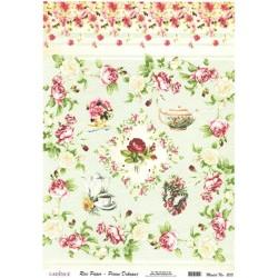 Rýžový papír A4 Růže, motýl, bordura