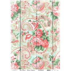 Rýžový papír A3 Vzor paisley s růžemi