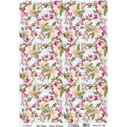 Rýžový papír A3 Květy magnolie na kostkovaném pozadí