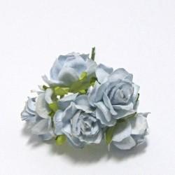 Papírová planá růže 3cm, sv.modrá, 5ks