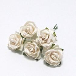 Papírová planá růže 3cm, bílá, 5ks