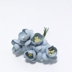Papírový květ třešně 3cm, baby modrá, 5ks