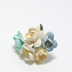 Papírový květ třešně 3cm, pastelový mix A, 5ks