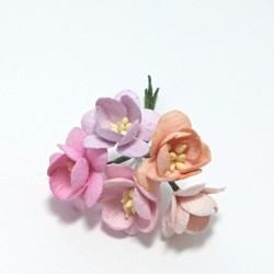 Papírový květ třešně 3cm, pastelový mix B, 5ks