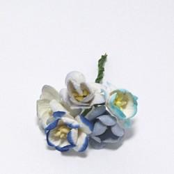 Papírový květ třešně 3cm, mix domodra, 5ks