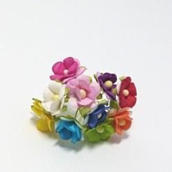 Směs drobných papírových květů 15mm, mix C, 10ks