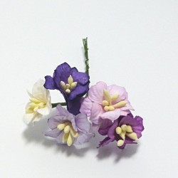 Papírový květ jabloně 2,5cm, mix dofialova, 5ks