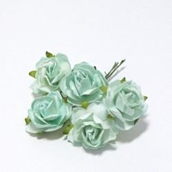 Papírová planá růže 3cm, aqua modrá, 5ks
