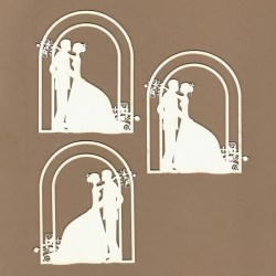 Letní svatba, novomanželé v altánku - 3ks chipboards