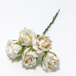 Papírové poupě divoké růže 2cm - bílé, 5ks