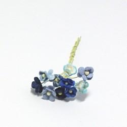 Směs drobných papírových květů 10mm, domodra, 10ks