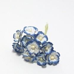 Směs drobných papírových květů 15mm, bílomodré, 10ks