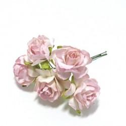 Papírová planá růže 3cm, dorůžova, 5ks