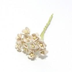 Směs drobných papírových květů 10mm, slonová kost, 10ks
