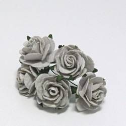 Papírová růžička 2,5cm, stříbrošedá, 5ks