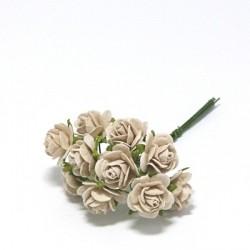 Papírová růžička 1,5cm, holubičí šeď, 10ks